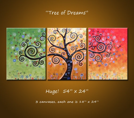 "Original Large Abstract Painting Modern Trees ... See shop for discount code,  54"" x 24"" .. Tree of Dreams"