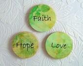 Wooden Magnets Faith Hope Love