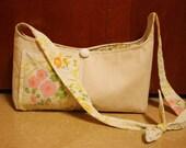 canvas and vintage floral hobo bag