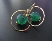 Tiny Glam Earrings - Green Onyx