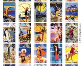 Vintage Travel Posters from Tropical Beaches in 1.25x2 inches for mini match boxes and more -- piddix digital collage sheet no. 235