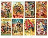 Victorian Fourth of July Postcards -- piddix digital collage sheet no. 576