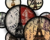 Eiffel Towers and Stamps in 1-inch Circles 4x6 inch sampler -- piddix digital collage sheet 1042