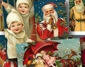 Vintage Christmas Printable 1x2 inch Domino tile size, Set of Two Christmas Digital Collage Sheets, Santa Claus, Sleigh - piddix 682 & 683