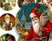 Vintage Christmas Collage Sheet filled with Victorian era Santas, Santa Claus in 1.5-inch Circles; downloadable images by piddix 121