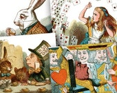 1890s Alice in Wonderland Woodcuts in 2 inch squares Two -- piddix digital collage sheet 459
