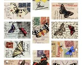 Butterflies on Vintage Postcards in 1.75x2.75 inches One for tags and more -- piddix digital collage sheet no. 494