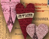 French Valentine Digital Collage Sheet Paris Hearts French Handwriting Eiffel Tower Vintage Stamps fits Patera Bezels -- piddix  no. 684