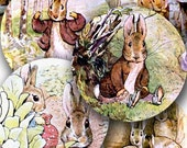 Peter Rabbit Bunnies for Easter and Spring from vintage Beatrix Potter in 1.5 inch circles -- printables by piddix digital collage sheet 242