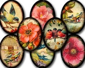 Flora and Fauna ovals collage sheet in 30 x 40 mm -- piddix 793