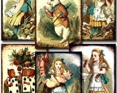 Framed 1890s Alice in Wonderland in 2.5x3.5 inches -- piddix digital collage sheet 778