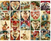 Valentines of Sweet Little Children and Gibson Girls in 2-inch squares -- piddix digital collage sheet no. 255