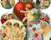 Valentine Printable Cherubs in 1-inch Circles Two for bottlecap art and more -- piddix digital collage sheet 254