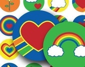 Retro 1980s Rainbows, Smiley Faces in 1-inch circles for bottlecaps, stickers, gay pride, flowers, stars; piddix instant download images 624