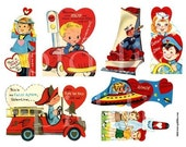 1950s Rockets, Cars, and Boat Valentines in medium sizes -- piddix digital collage sheet no. 396