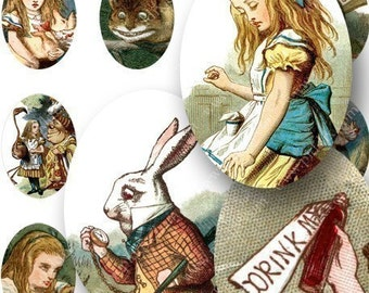 Alice in Wonderland Woodcuts from the 1890s in 18x25 mm ovals -- piddix digital collage sheet no. 690
