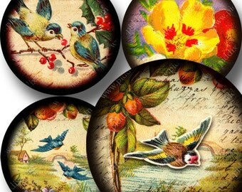 Flora and Fauna digital collage sheet in 2 inch circles -- piddix 761