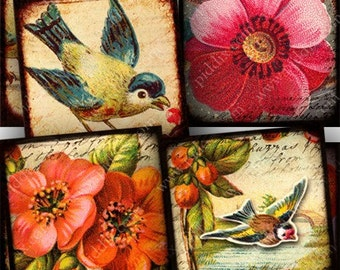 Flora and Fauna collage sheet in 7/8 inch squares for glass tiles and more -- piddix no. 727