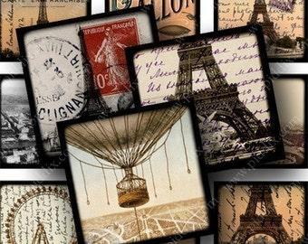 1 x 1 inch French Digital Collage Sheet -- Eiffel Tower, Hot Air Balloons, Paris France -- piddix 637