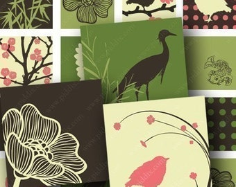 Spring Zen Birds and Bamboo in 1 inch squares -- piddix digital collage sheet 668
