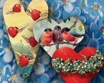 Victorian Valentine Hearts -- piddix digital collage sheet no. 686