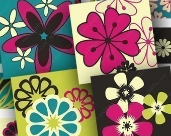 Bright Mod Flowers in 1-inch squares for pendants and more -- piddix digital collage sheet 699