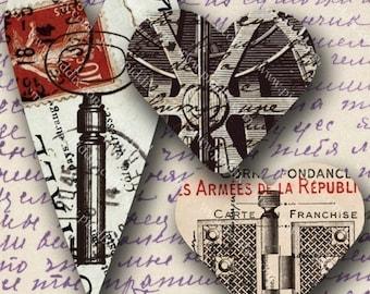 Steampunk Hearts -- piddix digital collage sheet no. 695