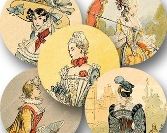 Marie Antoinette and French Fashion in 2.625 inch circles for pocket mirrors and more -- piddix digital collage sheet 736