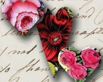 Vintage Rose Valentine Hearts -- piddix digital collage sheet no. 697