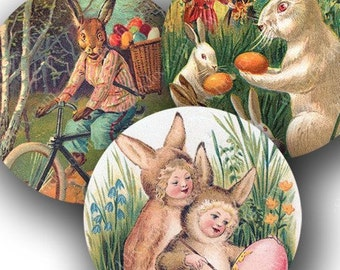 Easter Bunnies and Chicks from Victorian Postcards in 2 inch circles -- piddix digital collage sheet no. 268