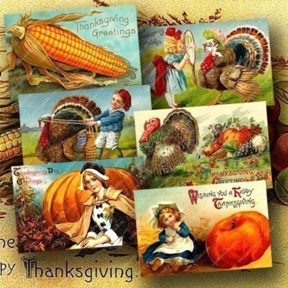 Vintage Thanksgiving Postcards One -- piddix digital collage sheet no. 679