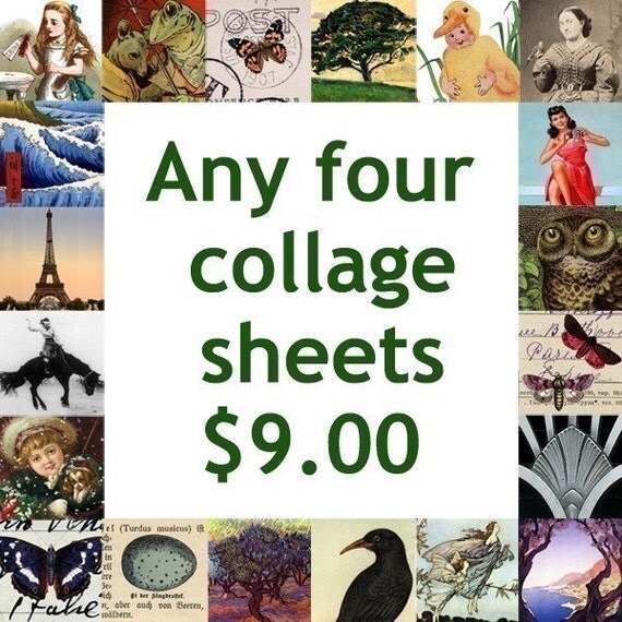 Any four piddix digital collage sheets for 9 dollars
