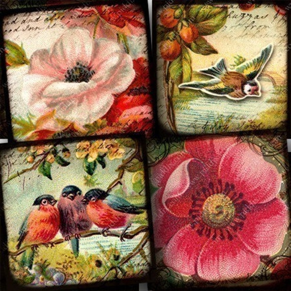 Flora and Fauna vintage bird and flower digital collage sheet in 1 inch squares -- piddix 724