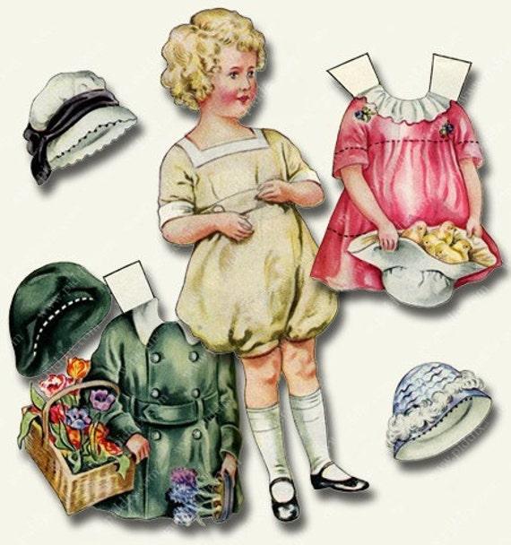 Vintage Easter or Spring Paper Dolls -- piddix digital collage sheet 770