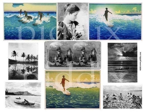 Vintage Hawaiian Photos and Woodblocks  -- piddix digital collage sheet no. 307