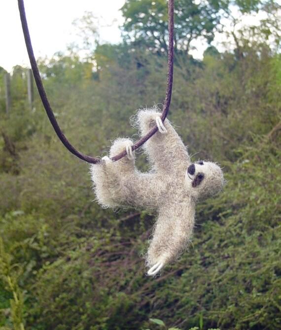 Tiny Sloth Necklace - needle felted