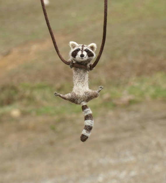 Tiny Raccoon Necklace - needle felted