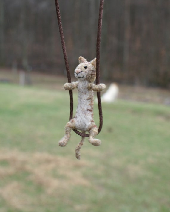 Tiny Cat Necklace - needle felted