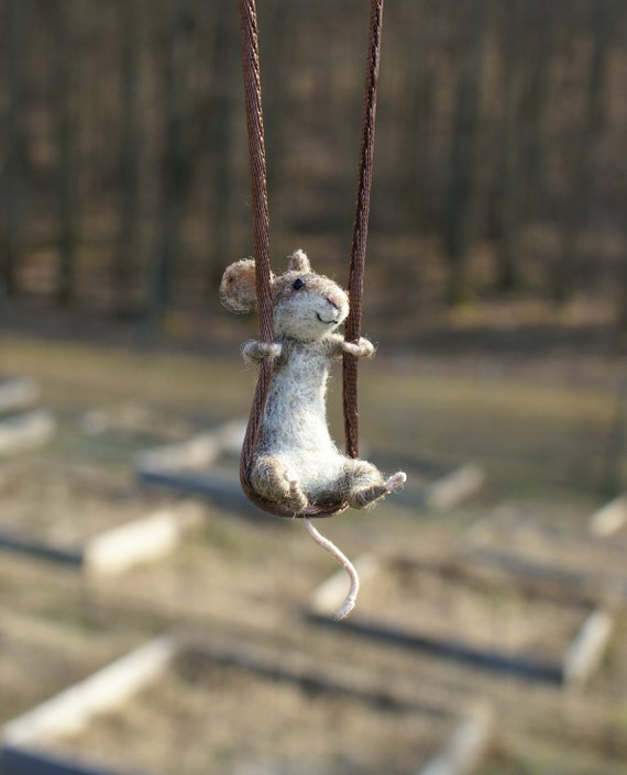 RESERVED for SarahSuttonHeath -Tiny Mouse Necklace - needle felted