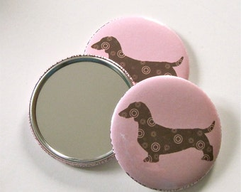 Dachshund Pocket Mirror in Pink