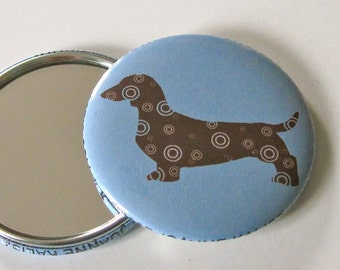 Dachshund Pocket Mirror in Periwinkle Blue