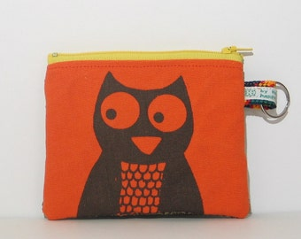 Owl Change Purse in Orange