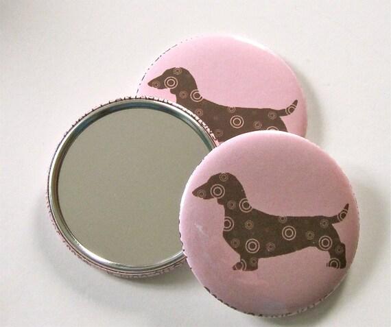 Dachshund Pocket Mirror in Pink