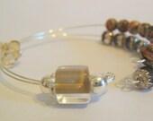 Healing Gemstone Row Counter Bracelet for Knitting or Crochet - Leopard Jasper