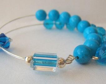 Healing Gemstone Row Counter Abacus Bracelet - Turquoise
