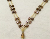 Double Strand Brown Necklace and Earrings Set