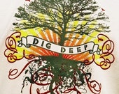 Dig Deep for Men - T-Shirt with Screen Print Graphic, Creme Color, Tree, Roots, Tee, Wunjo Wear