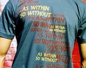 As Within So Without for Men - T-Shirt with Screen Print Graphic, Asphalt Color, Tee, Text, Wunjo Wear