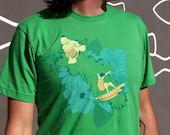 Sumo Surfing for Men - T-Shirt with Screen Print Graphic, Combed Cotton Tee, Grass Color, Waves, Green, Surf, Fun, Wunjo Wear