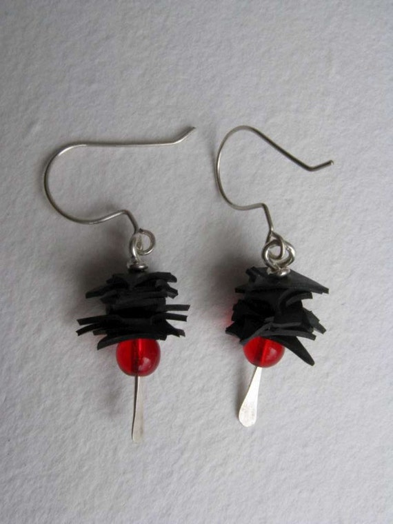Bike Tire Stacked Earring-red short